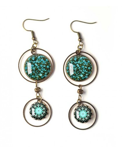 Earrings, double cabochon flowery Liberty style, peacock blue, mandala, white, bronze, woman's jewelry