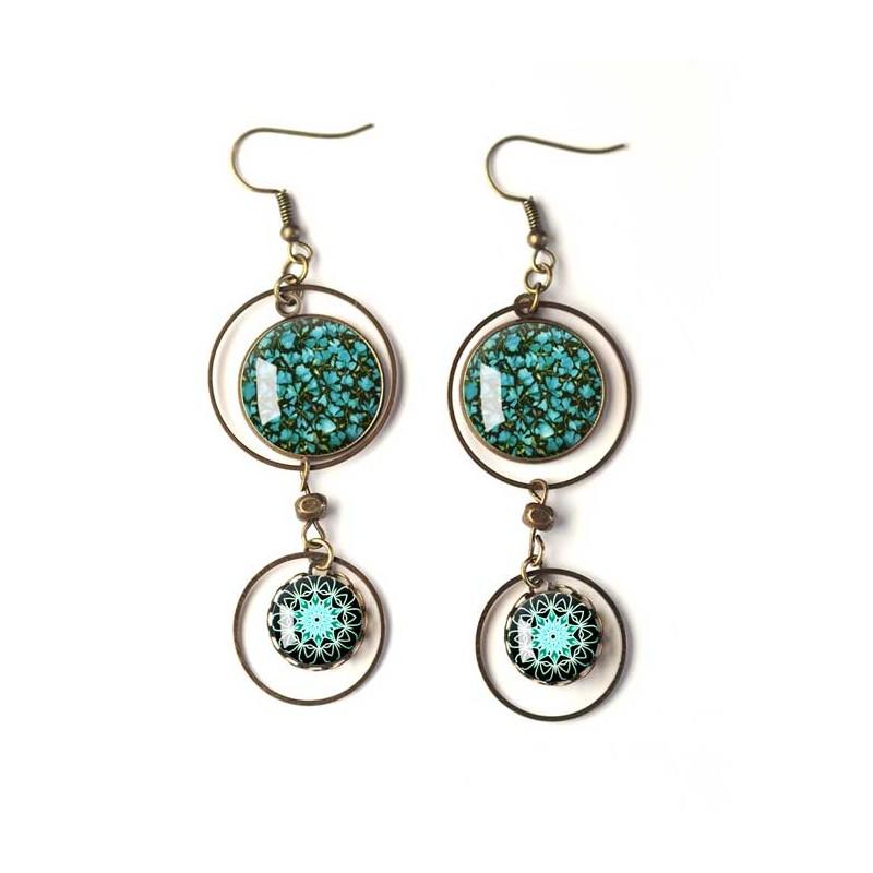 Mandala cabochon earrings black white silver