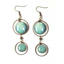 Boucles d'oreilles, double cabochon, pissenlit, dandelion, bleu pastel, blanc, bronze, bijoux pour femme