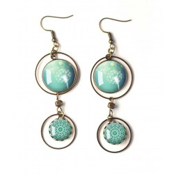 Earrings, double cabochon, dandelion, dandelion, blue pastel, white, bronze, woman's jewelry