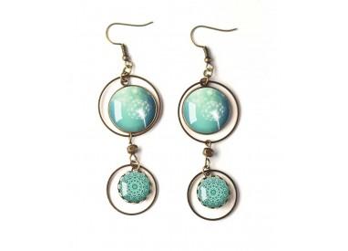 Earrings, double cabochon, dandelion, dandelion, blue pastel, white, bronze, woman's jewelry