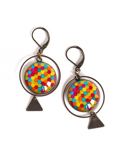 Earrings, round, multicolor patchwork, colorful, bronze, woman's jewelry