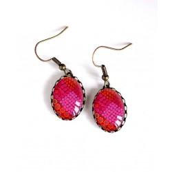 Boucles d'oreilles, ovale, fleuries, rouge fushia et orange, bronze, bijoux pour femme