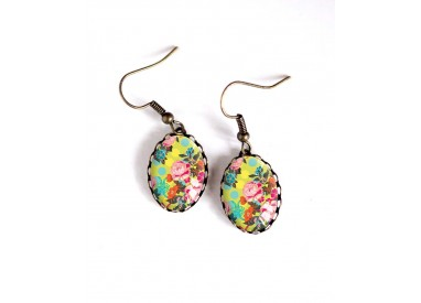 Earrings, oval, retro, floral, japan, yellow, pink flower, bronze, woman's jewelry