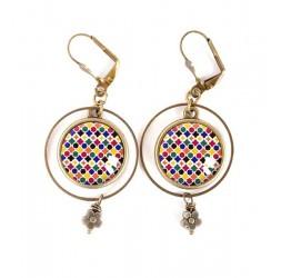 Boucles d'oreilles, mosaïque marocaine, bleu jaune rouge, bronze, bijoux pour femme