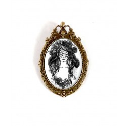 Broche cabochon the Muerta, gothic, black and white, bronze