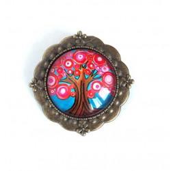 Broche cabujón, árbol de la vida, fucsia y turquesa, bronce