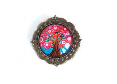 Broche cabochon, Tree of Life, fuchsia and turquoise, bronze
