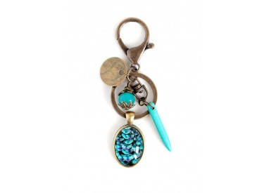 Broche cabochon Japanese seigeiha, turquoise and dark blue, bronze