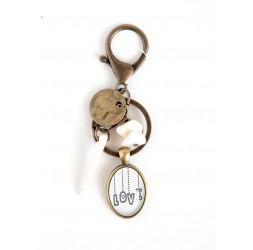 Broche cabochon messaggio d'amore, perla, bianco, bronzo