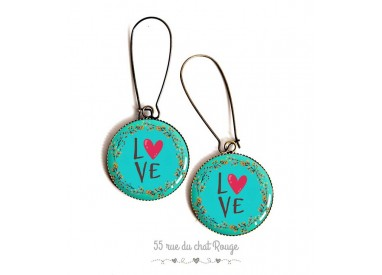 Earrings, LOVE messages, red and turquoise, epoxy resin, bronze, woman's jewelry