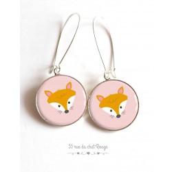 Earrings, little fox, pink and orange, epoxy resin, silver, woman's jewelry
