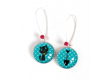 Earrings, Round, Little cat and fish, turquoise, silver, woman's jewelry