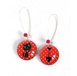 Boucles d'oreilles, rondes, Petit chat et son poisson, rouge, argentées, bijoux pour femme
