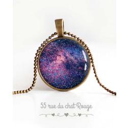Collier pendentif cabochon, Galaxie, étoiles, univers, bleu violet, bijoux pour femme
