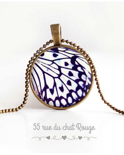 Collier pendentif cabochon, aile de papillon, noir et blanc, bijoux pour femme