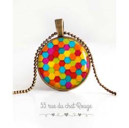 Collier pendentif cabochon, patchwork coloré, bonbons acidulés, bijoux pour femme