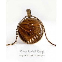 collana pendente cabochon, ala di farfalla, marrone e beige, gioielli della donna