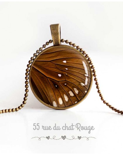 cabochon pendant necklace, butterfly wing, brown and beige, woman's jewelry