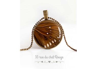 Cabochon Halskette, Schmetterlingsflügel, braun und beige, Frau Schmuck