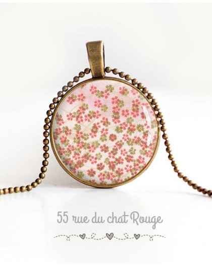 cabochon pendant necklace, small flowers, pink green spring women's jewelry