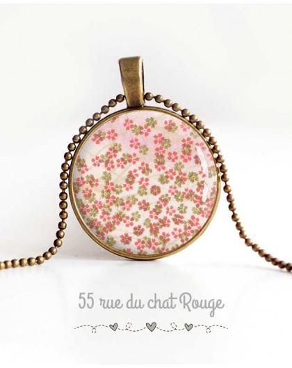 colgante de collar de cabujón, pequeñas flores, primavera de la joyería de las mujeres de color rosa verde