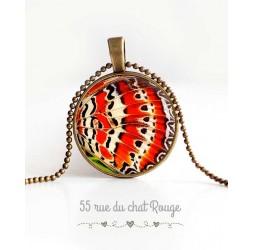 Collier pendentif cabochon, aile de papillon, orange et blanc, bijoux pour femme