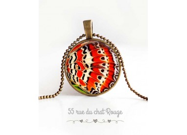 cabochon pendant necklace, butterfly wings, orange and white, woman's jewelry