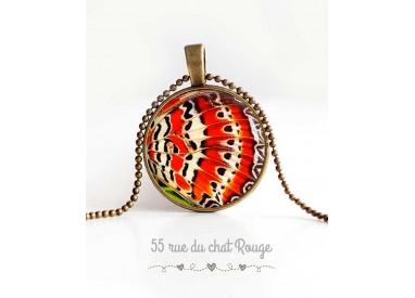cabujón collar pendiente, alas de mariposa, naranja y blanco, las joyas de la mujer