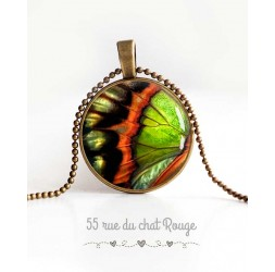 cabochon pendant necklace, butterfly wings, orange and green, woman's jewelry