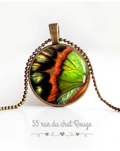 Cabochon Halskette, Schmetterlingsflügel, orange und grün, Frau Schmuck