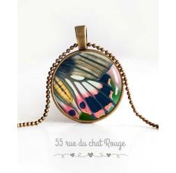 collar colgante de cabujón, ala de mariposa, rosa y gris, verde primavera, joyas de la mujer