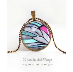 cabochon pendant necklace, butterfly wing, blue, gray and fuchsia, woman's jewelry