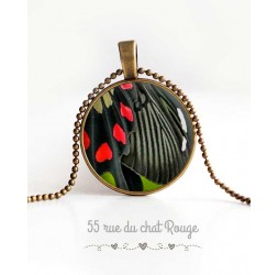 cabochon pendant necklace, butterfly wing, black and red, woman's jewelry