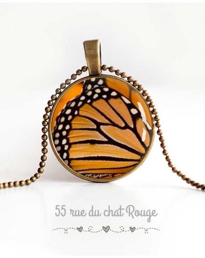 Cabochon Halskette, Schmetterlingsflügel, orange und schwarz, Frauen Schmuck