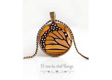 cabochon pendant necklace, butterfly wings, orange and black, women's jewelry