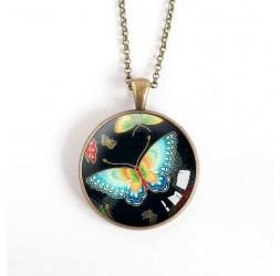 Collar colgante de cabujón, mariposa negra y turquesa, bronce