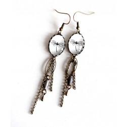 Orecchini, pendenti, cabochon libellula, in bianco e nero, bronzo