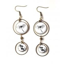 Boucles d'oreilles, double cabochon, Libellule, noir et blanc, bronze