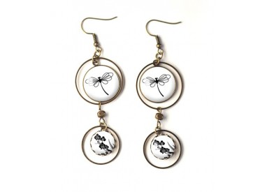 Earrings, double cabochon, dragonfly, black and white, bronze