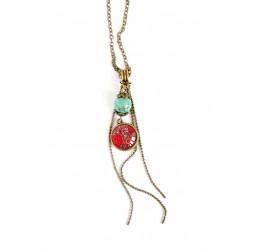 collana pendente cabochon, ispirato rosso indù chainette turchese perla, bronzo