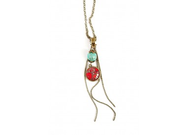 cabochon pendant necklace, inspired red Hindu chainette turquoise pearl, bronze