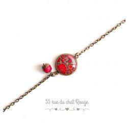 Bracelete dünne Kette, Cabochon rote Blüten, Hindu Inspiration, Bronze