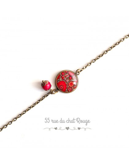 Bracelete thin chain, cabochon red flowers, Hindu inspiration, bronze
