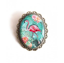 Pin, Flamenco, turquesa, flores, tropical, bronce