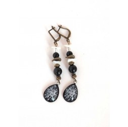 Earrings, pendant, cabochon drops, obsidian black, pearl, bronze crafts