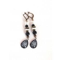 Orecchini, pendenti, gocce cabochon, ossidiana nera, perle, artigianato in bronzo