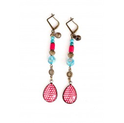 Boucles d'oreilles, pendantes, cabochon gouttes, Apatite bleu, rouge et turquoise, bronze, artisanat