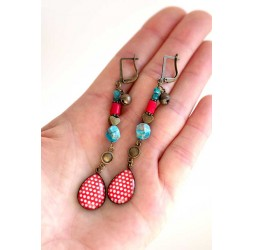Earrings, pendant, cabochon drops Apatite blue, red and turquoise, bronze crafts