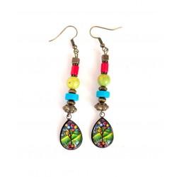 Boucles d'oreilles, pendantes, cabochon gouttes, vert et bleu, arbre de vie, bronze, artisanat
